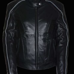 Black Leather Jacket for womens with White lining