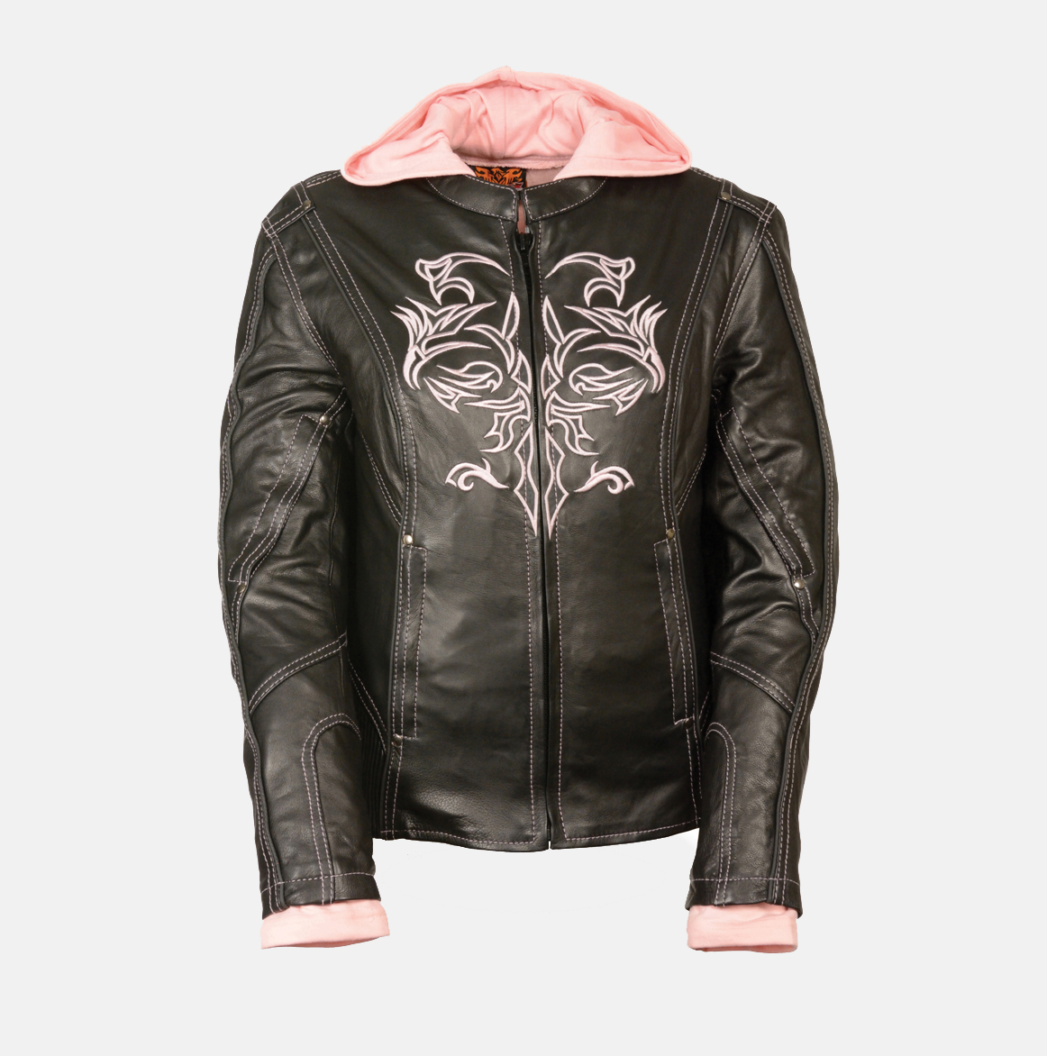 BLACK /PINK LEATHER JACKET W/ TRIBAL DETAIL - Bikers Gear Online USA