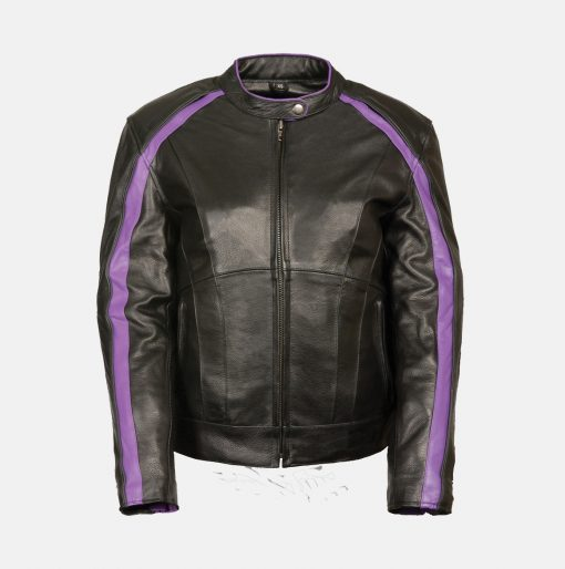Black Purple Leather Jacket for Ladies