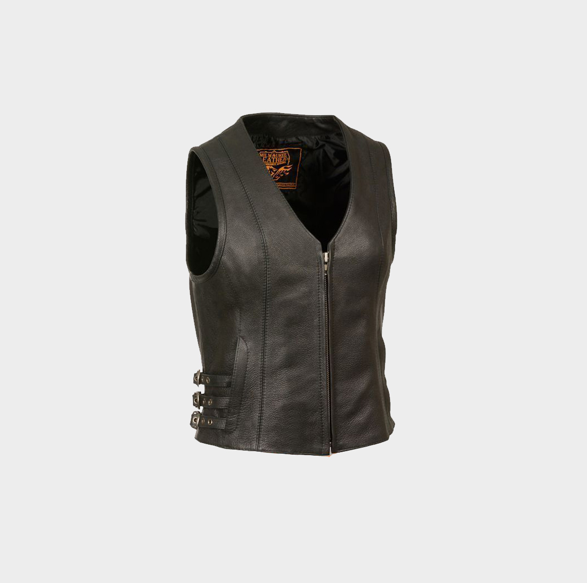 Ladies Zipper Front Black Side Lace Leather Vest w// Zippered Pockets Gun Pockets