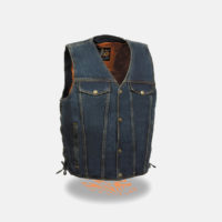Men Blue Biker Vest Denim