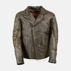 Mens Distressed Leather Jacket Brown