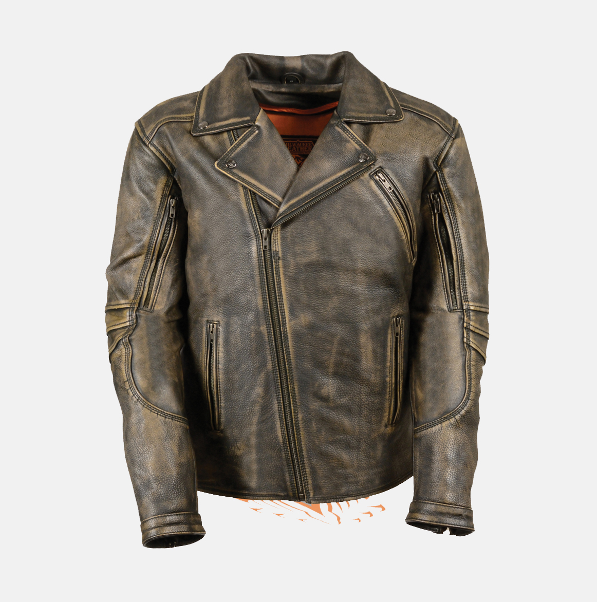 MEN'S BROWN DISTRESSED LEATHER POLICE JACKET - Bikers Gear Online USA