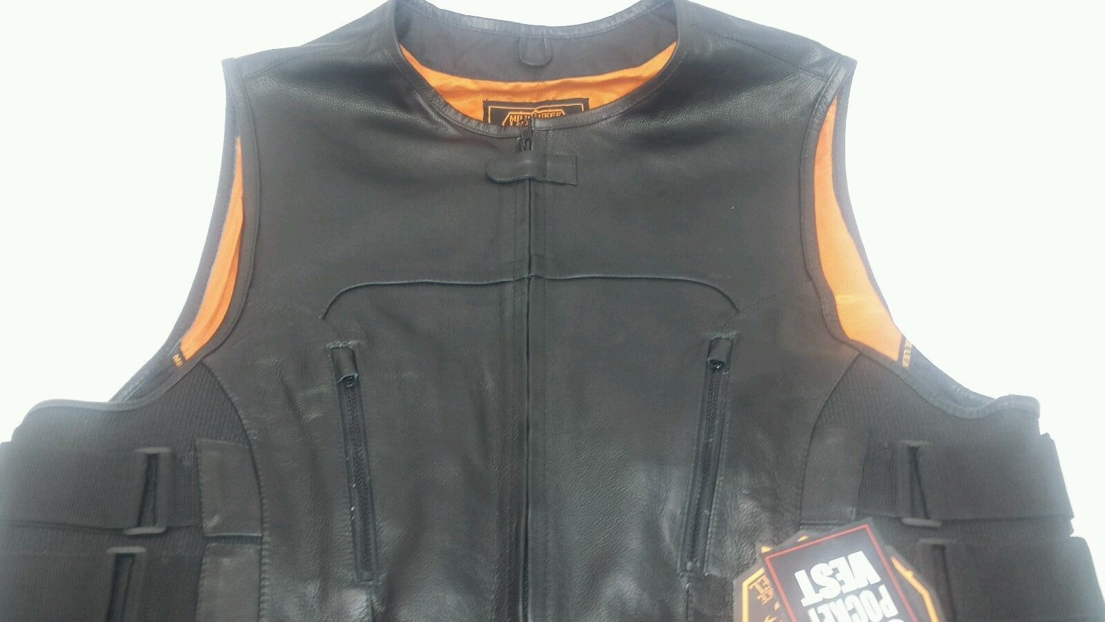Mens Motorcycle Leather Vest SWAT Black