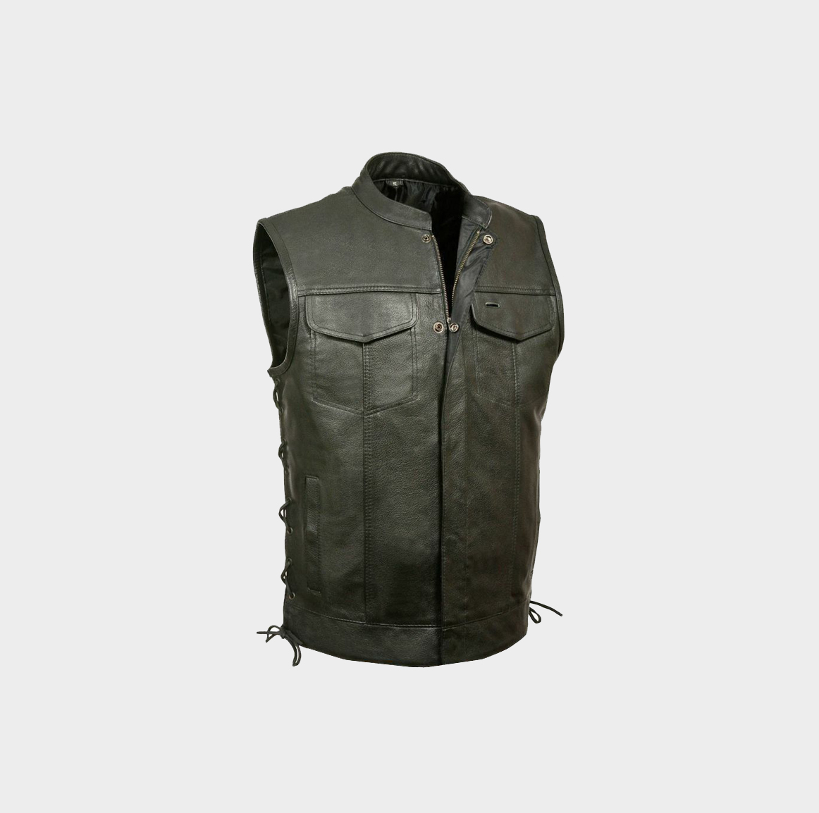 Mens Vests Leather Black