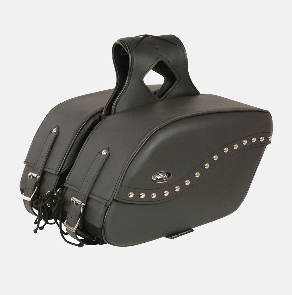 Motorcycle saddlebag two piece pvc studded bikers gear for Motor cycle saddle bags