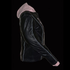 Motorcycle black leather jacket with hood womens