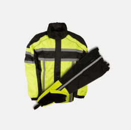 motorcycle rain suit black green