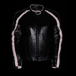 Pink Leather Jacket Black for Women