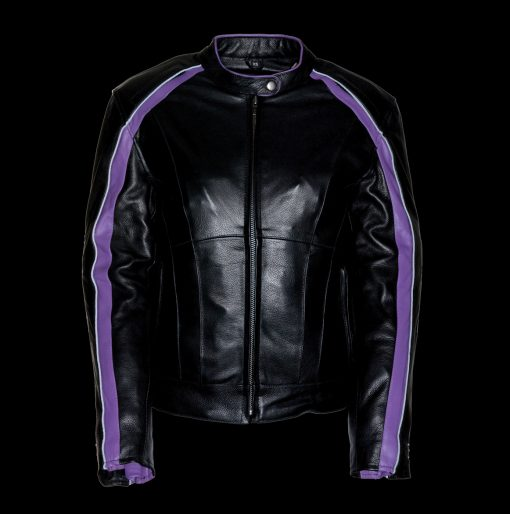 purple leather biker jacket women