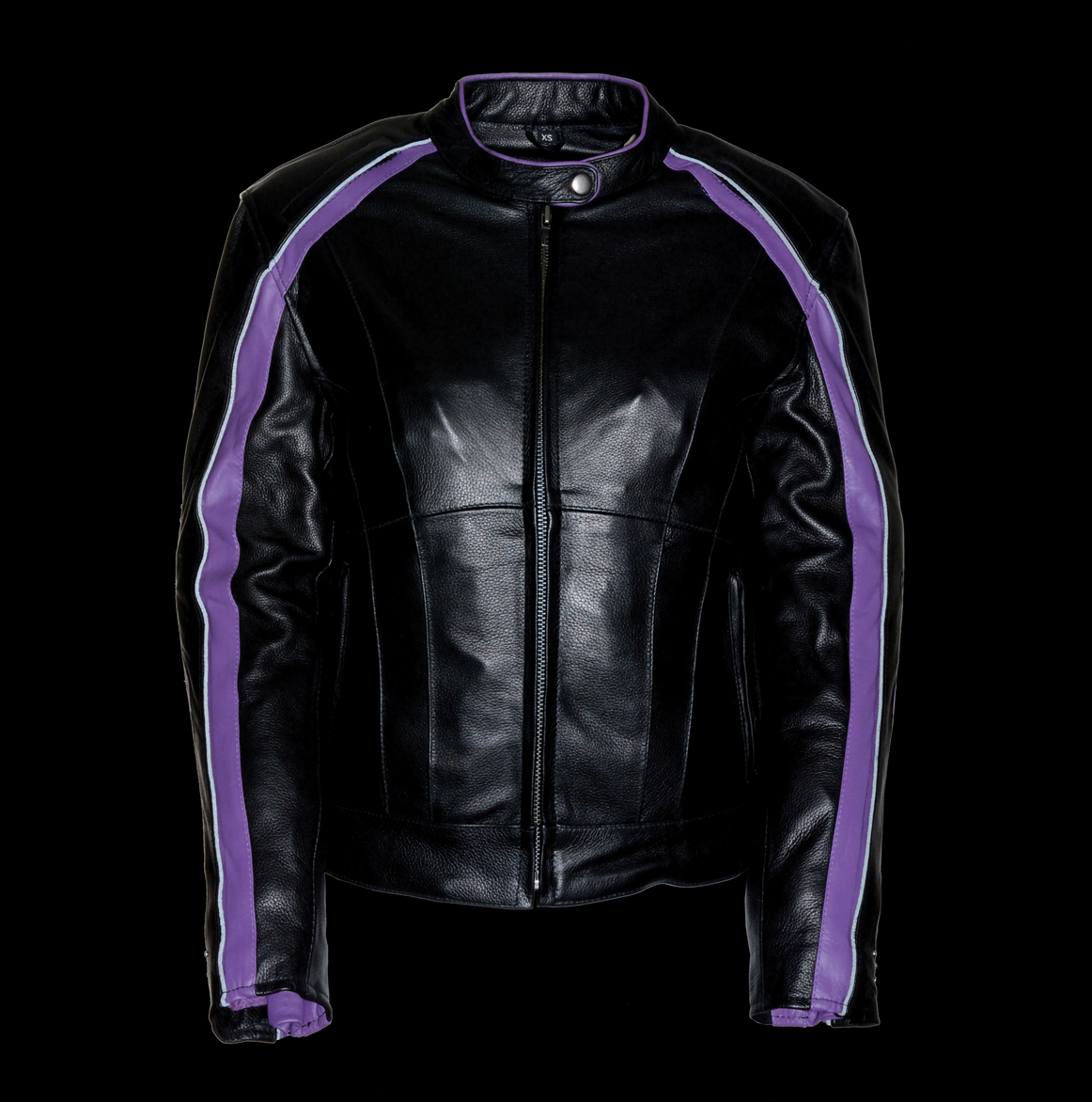 Purple Embroidered Leather Jacket W Stud Amp Wing Bikers