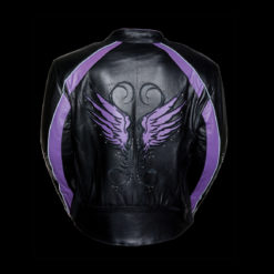 purple leather motorcycle jacket