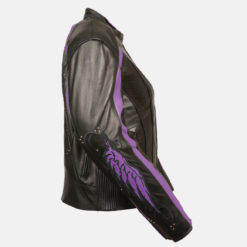 purple leather motorcycle jacket side