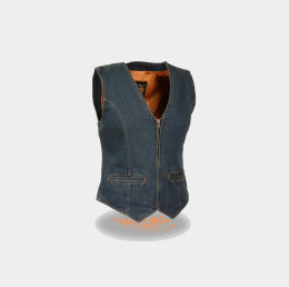 Women Vest Blue Denim
