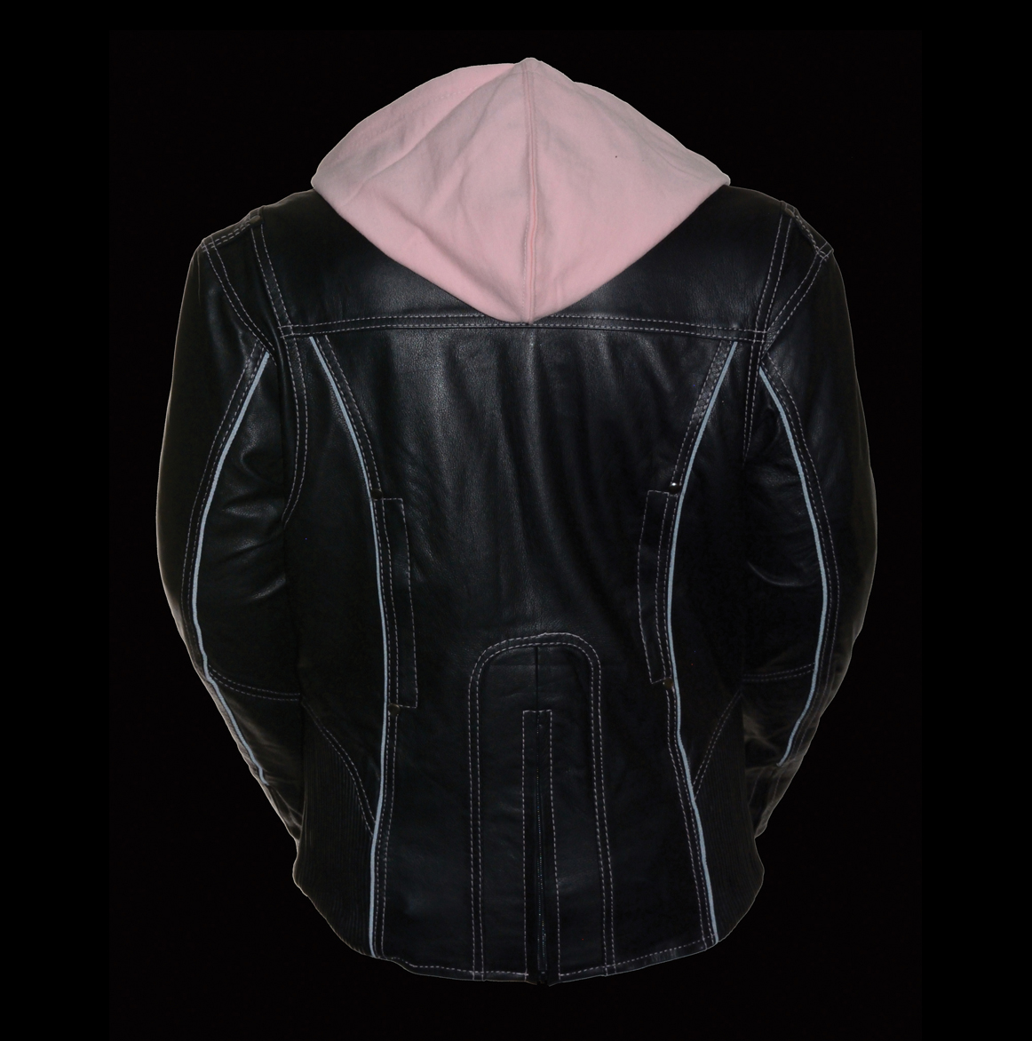 womens black leather jacket with hood