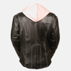 Womens Black pink leather Jacket Motorcycle