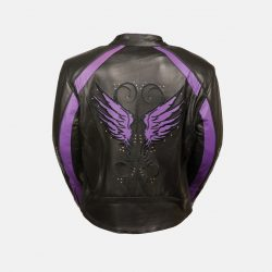 Womens Black Purple Leather Jacket for Motorcycle Ride