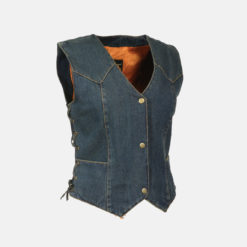 women's denim motorcycle vest