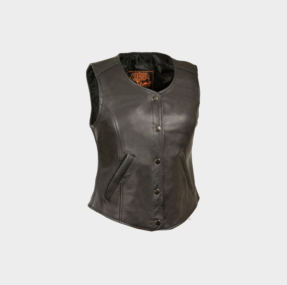 Womens Extra Long Vest Black Leather