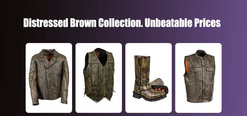 3 distressed brown leather collection biker gear