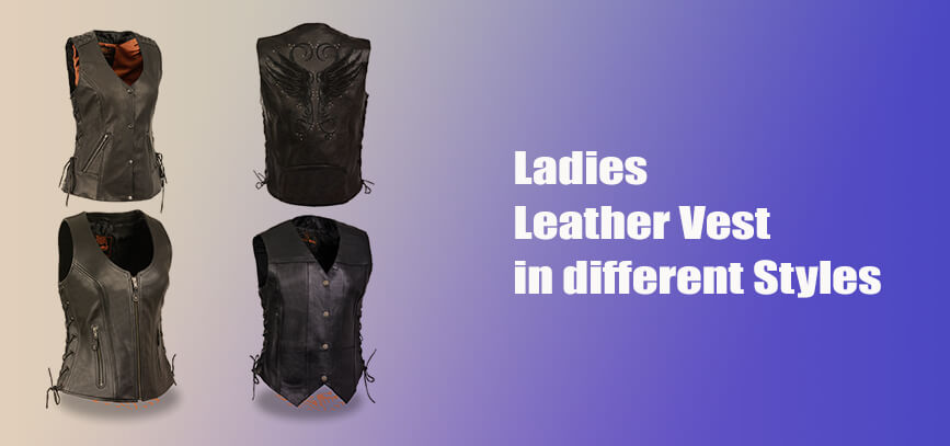 4 ladies leather vest biker gear female collection
