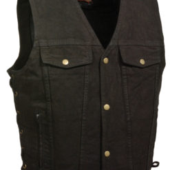 Black Biker Denim Vest