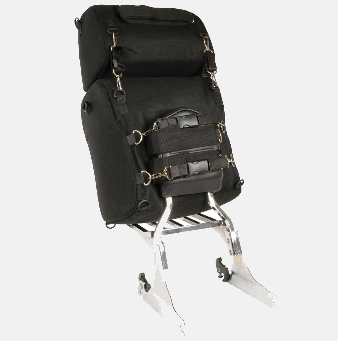 black leather motorcycle backpack