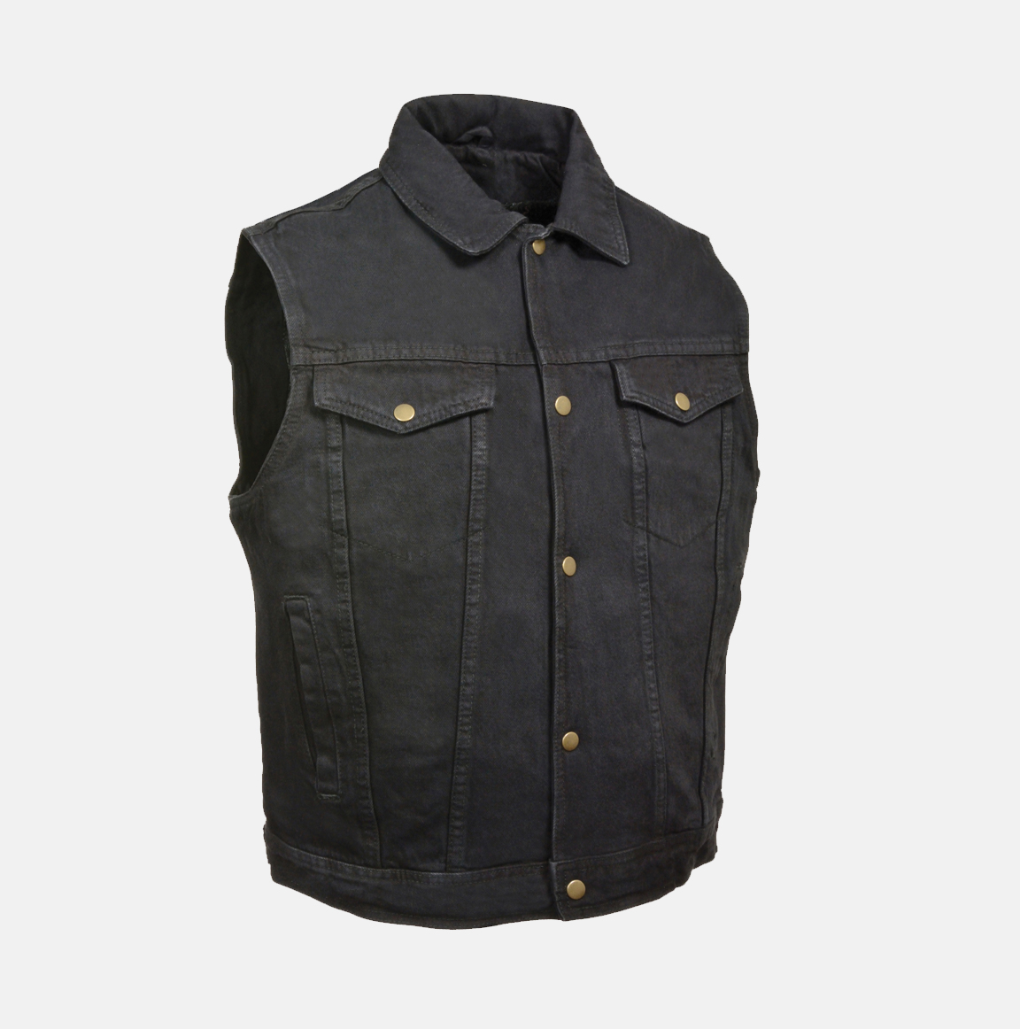SNAP FRONT BLACK DENIM VEST W/ SHIRT COLLAR - Bikers Gear Online USA