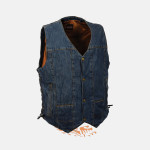 10 POCKETS BLUE DENIM COTTON BIKER VEST SIDE LACES