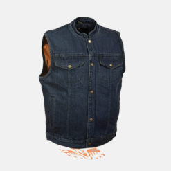 blue denim vest with patches