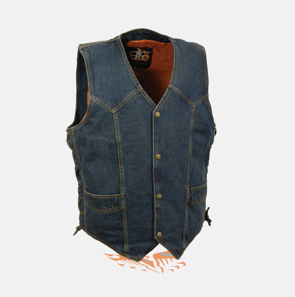 Men's denim Biker Vest and jackets available to Buy online with free delivery in USA. Quality black custom denim Motorcycle vests with gun Pockets.