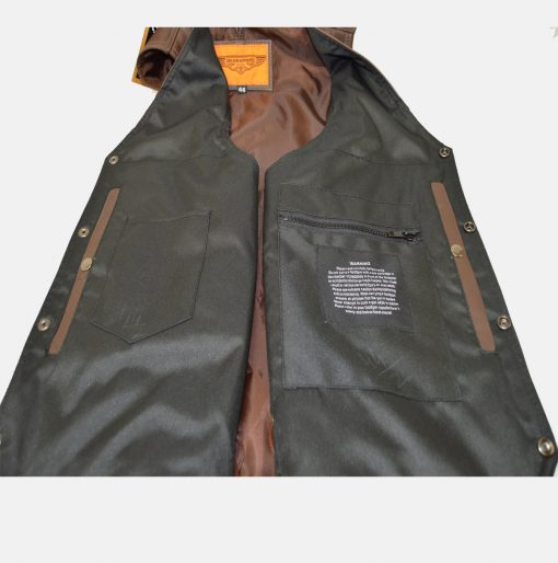 brown leather biker vest with gun pockets