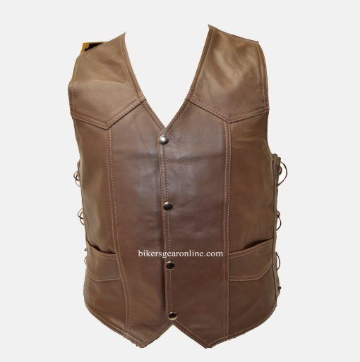 brown leather motorcycle vest mens