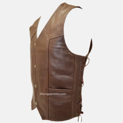 brown leather motorcycle vests