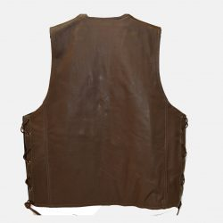 brown leather vest with gun pocket