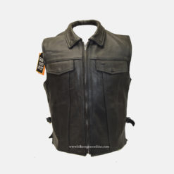 Club Leather jacket Vest with Fold Collars