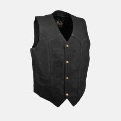 Denim Biker Vest Black