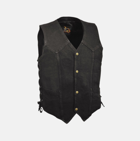 Denim Motorcycle vest Black