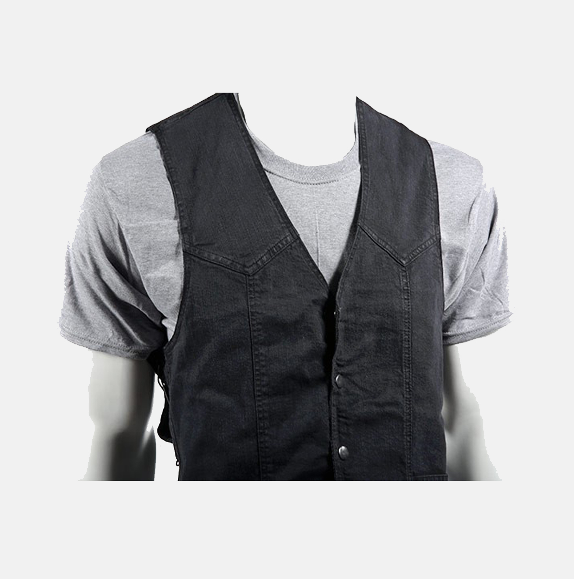Motorcycle Denim Vest In Black With Side Laces Bikers