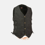 10 POCKETS BLACK DENIM COTTON BIKER VEST SIDE LACES