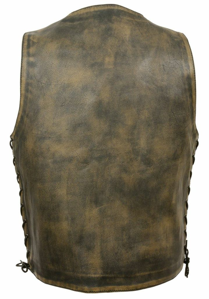 distressed brown leather vest 10 pockets