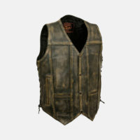 distressed leather vest