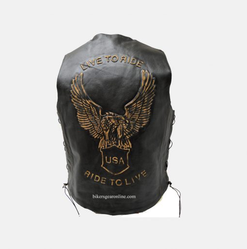 Live to ride mens leather vest for sale