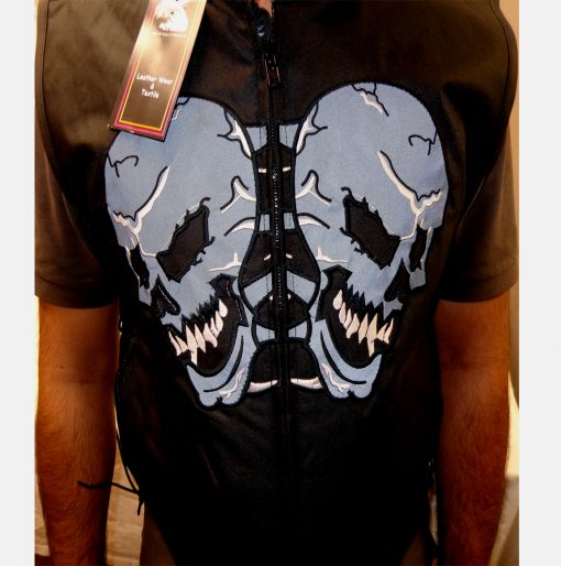 Mens Denim vest reflective skull