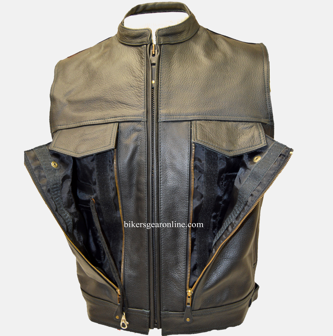 7afe8b785 Mens Leather Motorcycle Vest with Gun Pockets