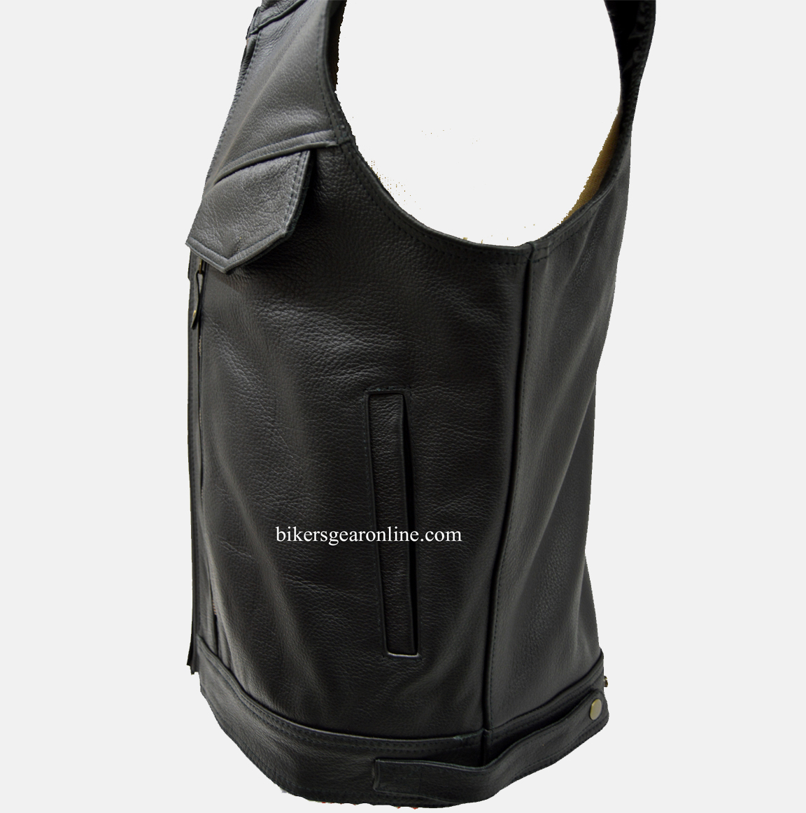 Mens Leather Motorcycle Vest With Gun Pockets