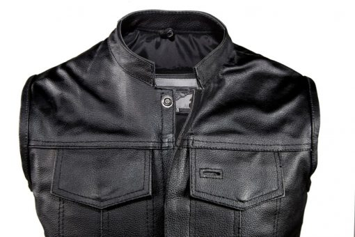 Mens Sons of Anarchy Style Vest Black