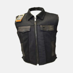 single panel leather vest