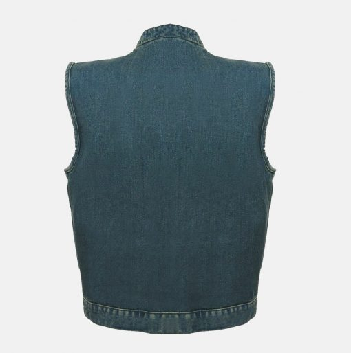 SOA motorcycle leather vest for sale blue