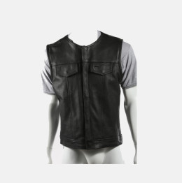 sons of anarchy leather vest collarless shirt